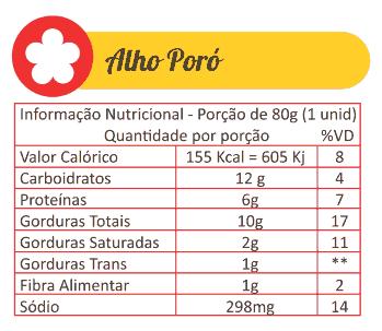Sabores Da Empada Tabela Nutricional Alho Poro