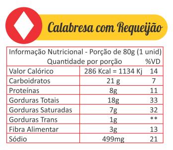 Sabores Da Empada Tabela Nutricional Calabresa Com Requeijao