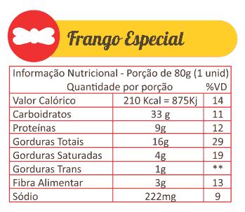 Sabores Da Empada Tabela Nutricional Frango Especial