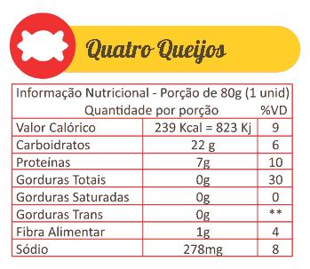 Sabores Da Empada Tabela Nutricional Quatro Queijos